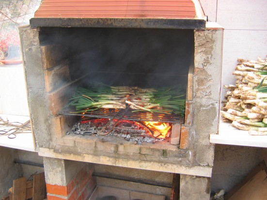 photo of Calçots roasting during a calçotada