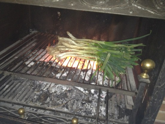 photo of calçots cooking
