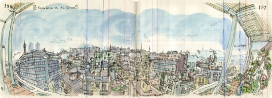 Illustration of the view from Lapin's apartment
