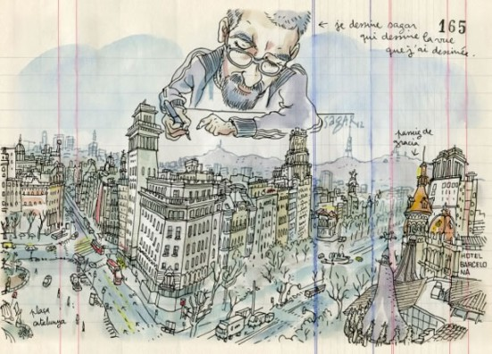 Illustration of the view from El Corte Inglés cafe