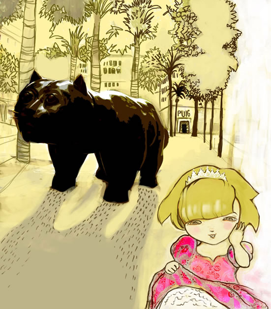 Girl & Botero Cat in Barcelona illustration