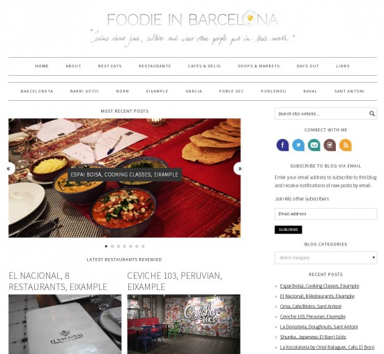 Foodie in Barcelona website screenshot