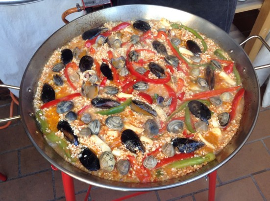 seafood paella cooking