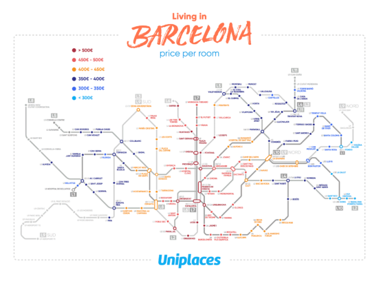 Barcelona Metro Map by Room Prices