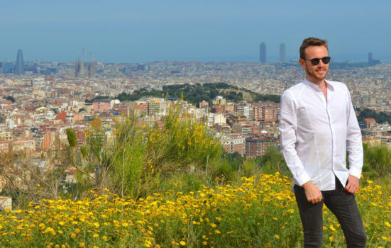 Jamie Armstrong with a view of Barcelona behind